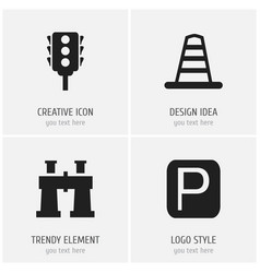 set of 4 editable navigation icons includes vector image