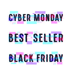 Set of banners for black friday cyber monday vector