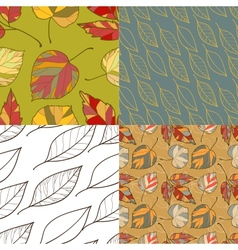 Set of four autumn leaves backgrounds vector image