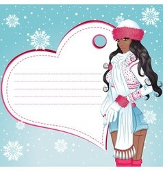 sexy african winter girl greeting card vector image vector image