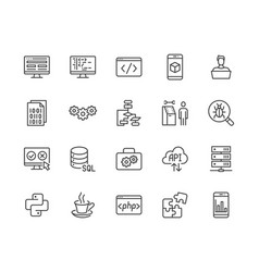 Software development flat line icons set vector