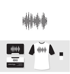 Sound wave logo design with business card and t vector