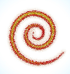 Spiral sign made of scattered balls vector