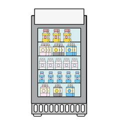 Supermarket fridge with fresh drinks beverage vector