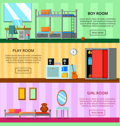 teen room flat banners vector image