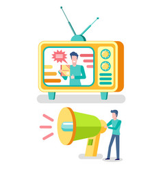 television advertisement tv set and megaphone vector image