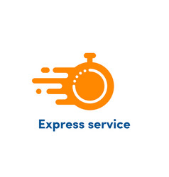 Time clock logo fast express service vector