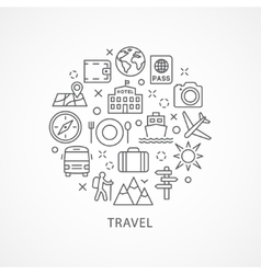 Travel with icons in linear style vector