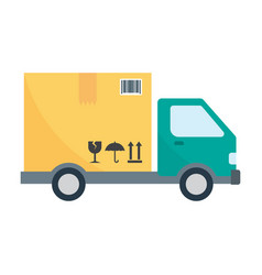 truck transporting a big cardboard box vector image