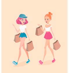 two young hipster girls going down street vector image