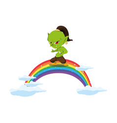 Ugly troll with rainbow magic character vector