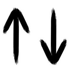 vertical arrows hand drawn rough brush up vector image