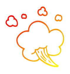 Warm gradient line drawing cartoon whooshing cloud vector