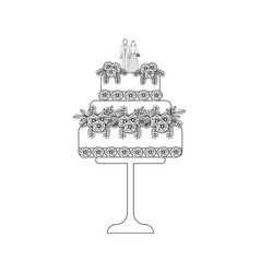 wedding cake outline vector image