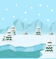Winter north pole arctic background concept vector