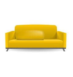 yellow sofa mockup realistic style vector image