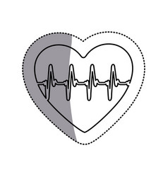 contour symbol heartbeat with heart icon vector image vector image