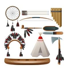 Ethnic american indigenous set vector image