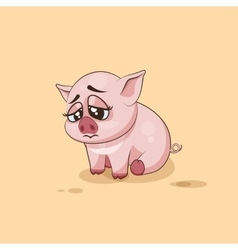 isolated Emoji character cartoon Pig sad and vector image