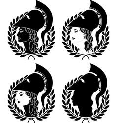 set of athena profiles stencils vector image
