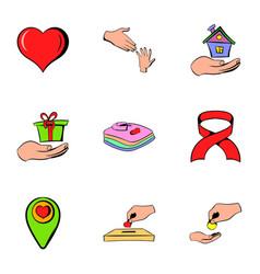 volunteer icons set cartoon style vector image vector image