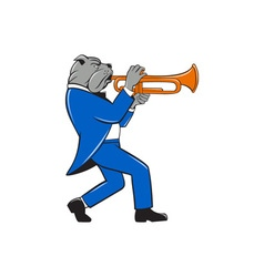 Bulldog Blowing Trumpet Side View Cartoon vector image