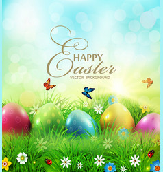 easter greeting card with colorful vector image vector image