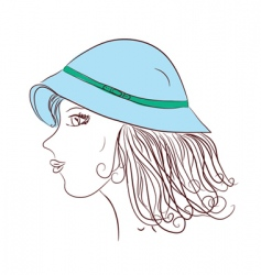 girl wearing hat vector image vector image