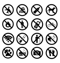 Set ban icons Prohibited symbols black signs vector image