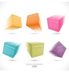 Set of pixelated cube banners vector image