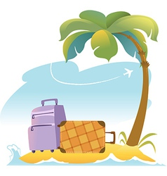 Tropical Landscape With Palm Tree and Suitcases vector image vector image