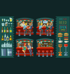 cartoon of icons for bar interior vector image