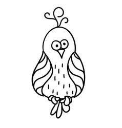 Cute cartoon bird with black contour vector