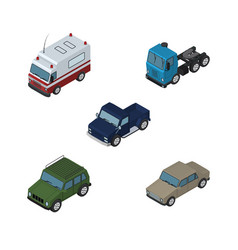 Isometric car set of auto truck armored and vector