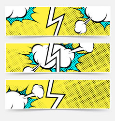 modern pop art style divided header set vector image vector image