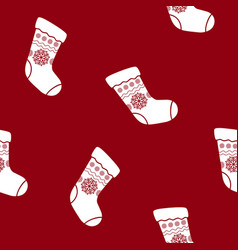 seamless christmas pattern with sock vector image