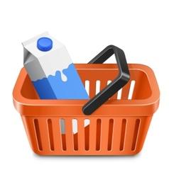 shopping cart with a milk carton vector image vector image