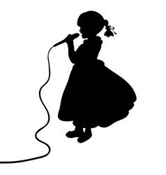 silhouette girl music sings in microphone vector image