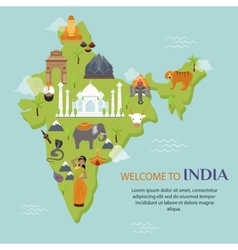 India landmark travel map vector image