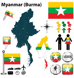 Map of Myanmar vector image