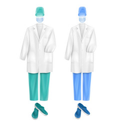 set of medical uniform accessories face mask cap vector image