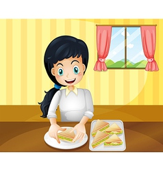 A happy woman preparing sandwiches vector