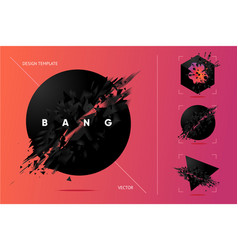 Abstract explosion shapes set with black particles vector