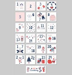 Advent calendar with christmas vector