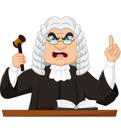 Angry male judge holding gavel and pointing up vector