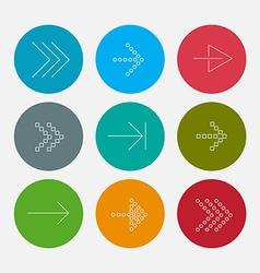 Arrow line icons set vector