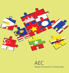 ASEAN Economic Community AEC jigsaw concept vector image