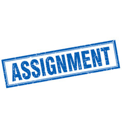Assignment blue grunge square stamp on white vector