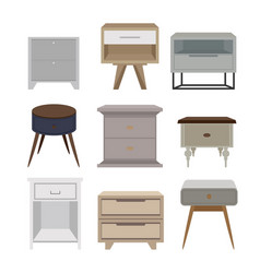 Bedside tables set for creating an interior for vector