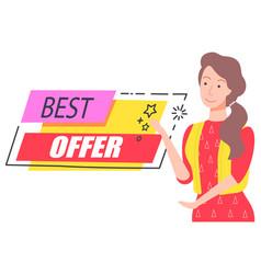 Best offer discount capture happy girl offering vector